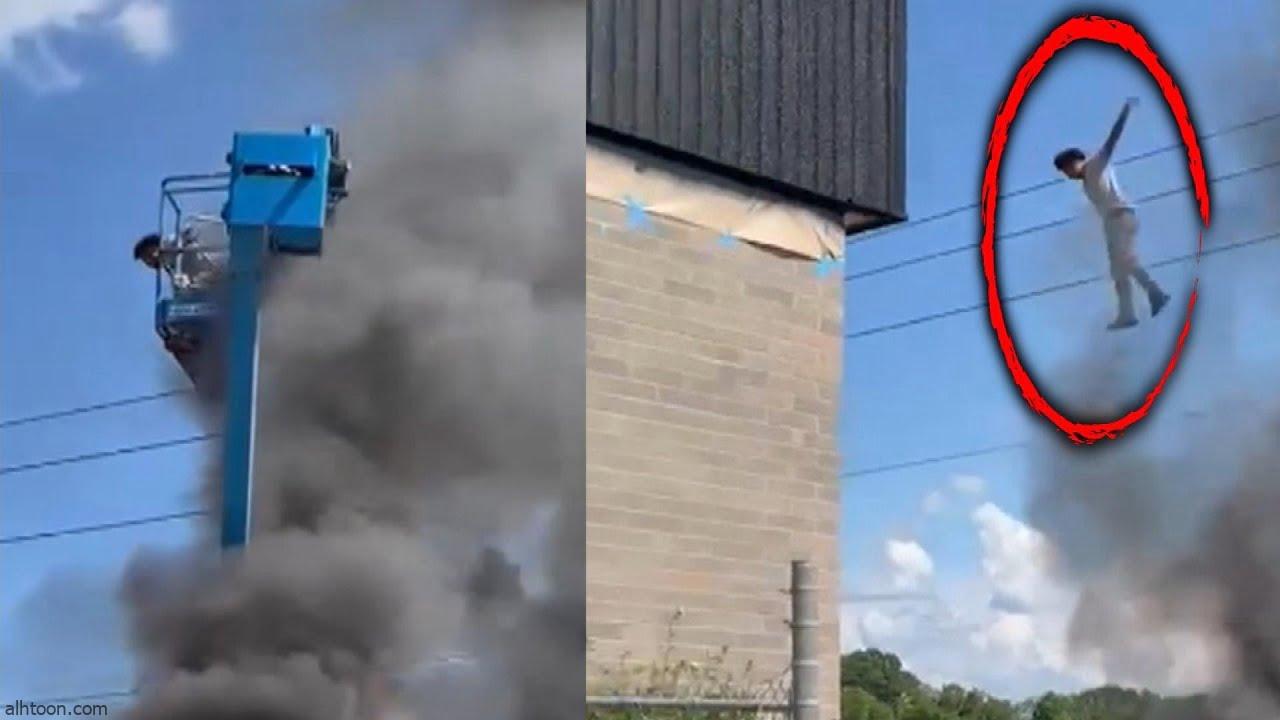 رجل يقفز من رافعة مشتعلة - صحيفة هتون الدولية