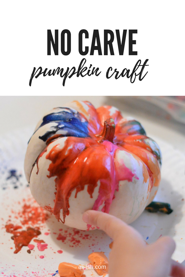 no carve pumpkins using old crayons
