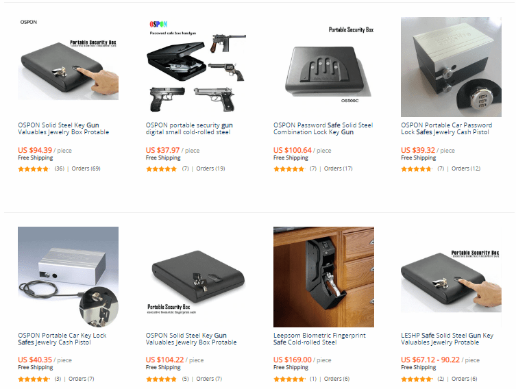 "Best Drop Shipping niches ""Gun Safes"", AliExpress products` examples"