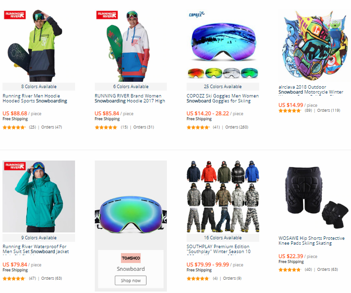 "Best Drop Shipping niches ""Snowboard"", AliExpress products` examples"