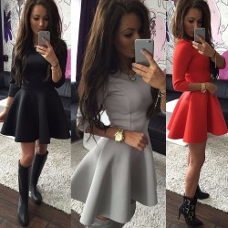 Fashion-Women-s-3-4-Sleeve-Sexy-Winter-Evening-Party-Bodycon-Mini-Skater-Dress1