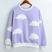 2015-Dongguk-new-clouds-print-fleece-female-loose-round-neck-sweatshirt-for-girls-1-4