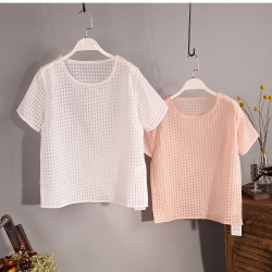 2015-Summer-Casual-Women-s-T-shirt-Women-Tops-Organza-Hollow-T-shirt-Women-s-short-1