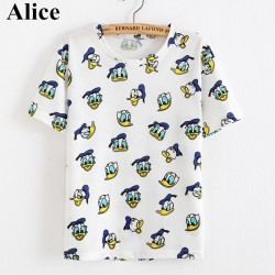 Alice-Hot-Tassel-2015-new-summer-Cartoon-Donald-Duck-print-ladies-t-shirts-high-quality-1