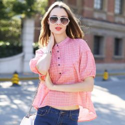 Veri-Gude-Summer-Style-New-Women-s-Batwing-Sleeve-Blouses-Plaid-Shirts-Free-Shipping-1