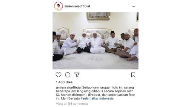 Postingan Amien Rais di Instagram