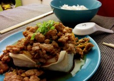 Steamed tofu with ground pork.