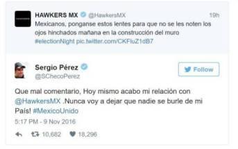 Tuit de Hawkers México y respuesta de Checo Pérez