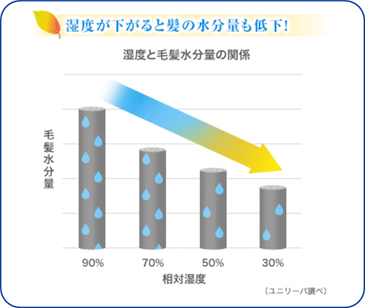 湿度と髪の水分量の関係