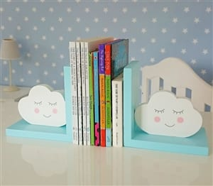 Smiley Face Blue Clouds Bookends