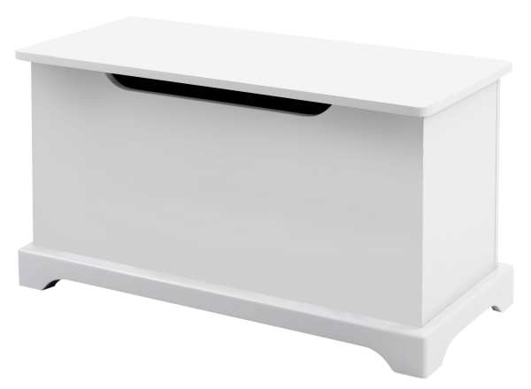 hinged WHITE WOODEN TOY STORAGE BOX