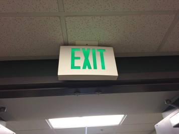 - Context: A sign - Mixed with: blank space - Message: where to exit - Personality: Important