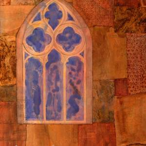 Mixed Media Painting window texture stone wall blue brown