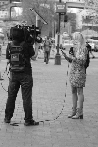 TV News Reporter on the Broadway, Nashville