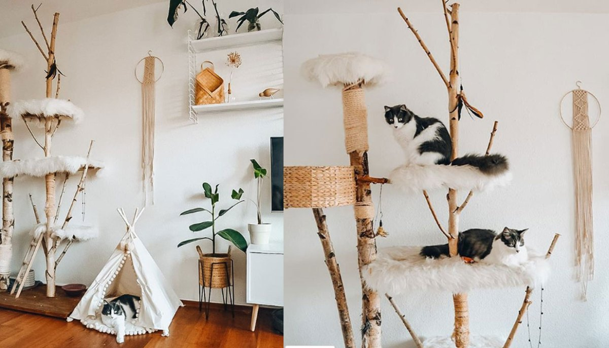 unique trunk and grass style cat tree