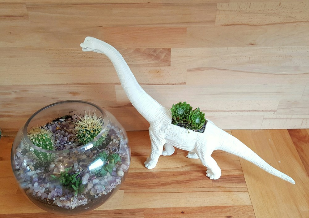 How to make a dinosaur planter, for kids and big kids alike.