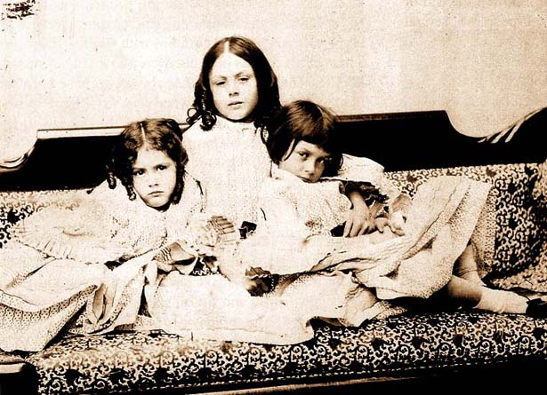 Alice Liddell and her sisters look serious