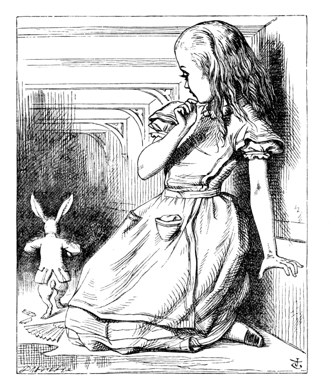 small white rabbit runs from giant Alice in Wonderland