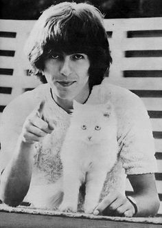 George Harrison with cat