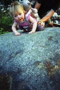 Lulu learning how to rock climb.