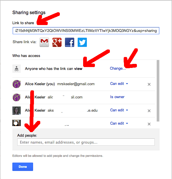 how to share google drive folder