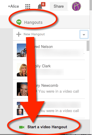 click hangouts and start a video hangout