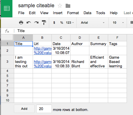 citable spreadsheet