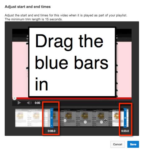 drag blue bars in