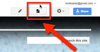 google sites create page