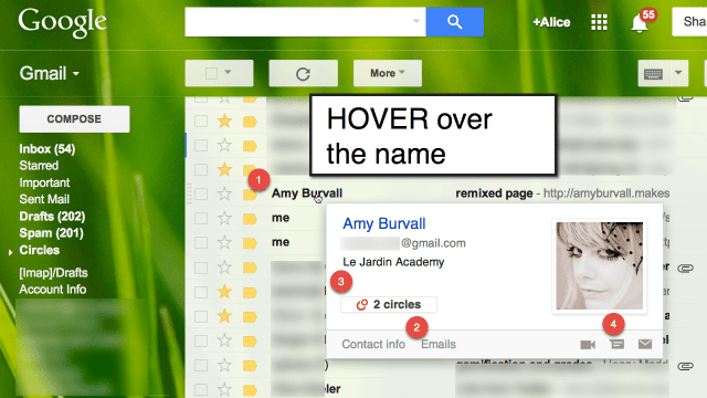Gmail hover over the name