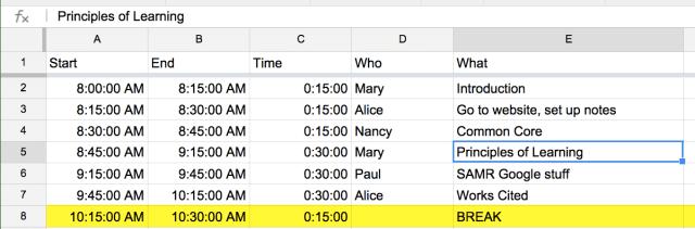 Google sheets agenda