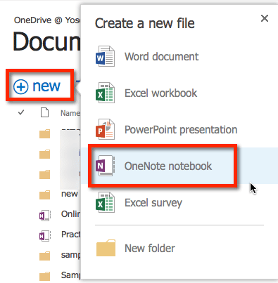 New OneNote notebook