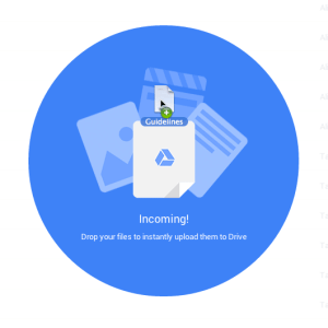 incoming drag a file into google drive