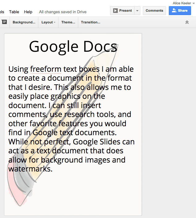 "Create A Background Image Or Watermark On A Google ""Doc"