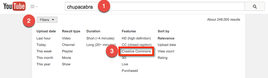 youtube search filter creative commons
