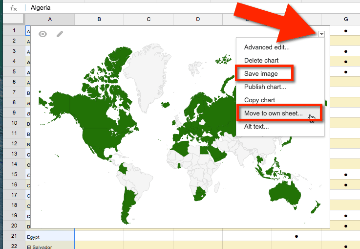 Google Sheets Map Countries Move to own sheet