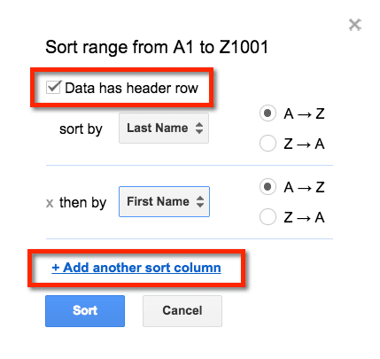 sort range google sheets