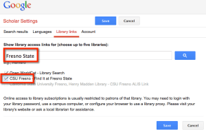 Google Scholar search university library links