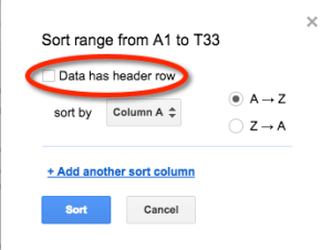 Google Sheets Sort Range Header Rows