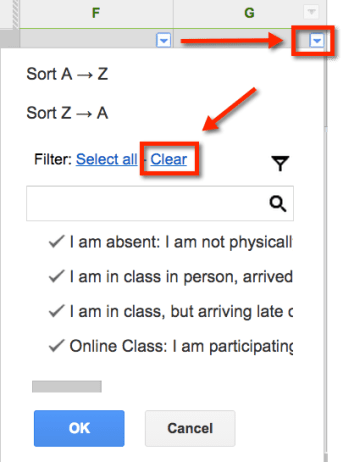 Filter Options Google Sheets
