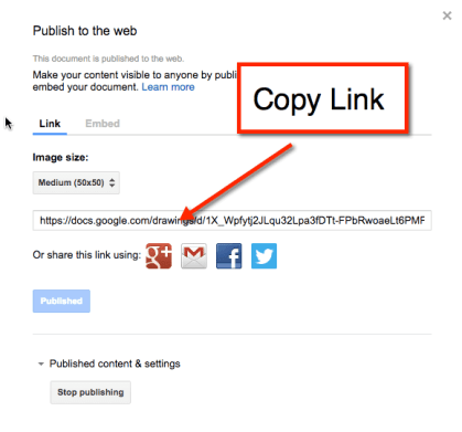 Google Drawing Publish Link