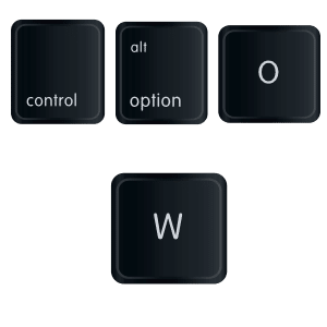 control option o w