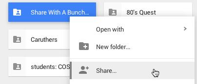 Share right click on google drive folder