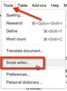 Google Docs Script Editor