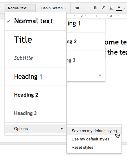 Google Docs set the normal text
