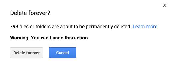 Google Drive Delete 800 files