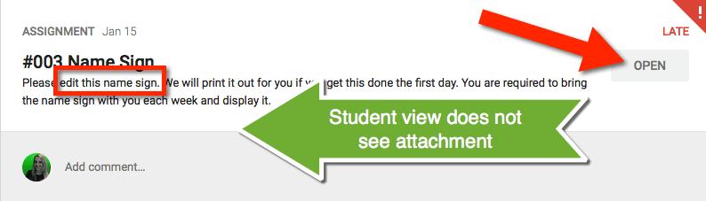 Student view Google Classroom