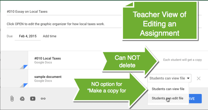 Google Classroom edit an assignment