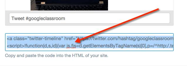 Twitter widget embed code