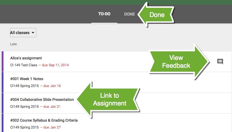 Google Classroom Student Assignment